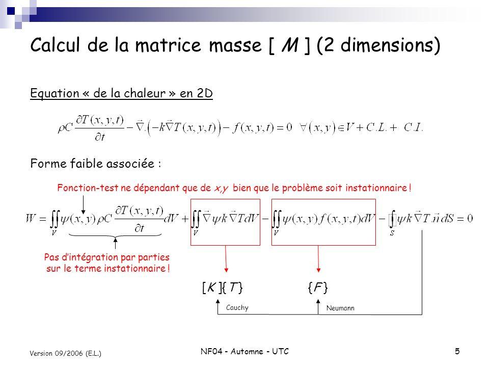 Calcul de la matrice masse [ M ] (2 dimensions)
